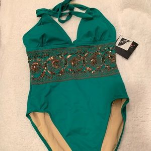 Green Swimsuit with Bronze Sequins Sz 8Tall